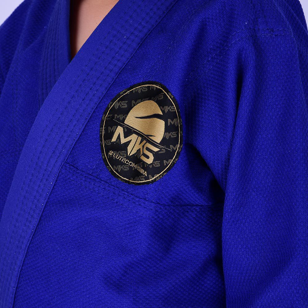 Kimono Jiu Jitsu Infantil Trançado Mks Combat Azul