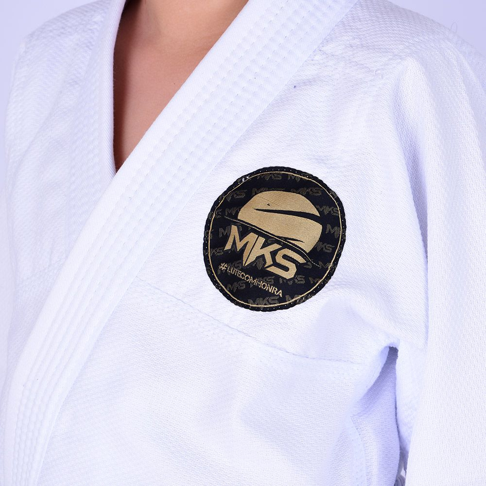 Kimono Jiu Jitsu Infantil Trançado Mks Combat Branco