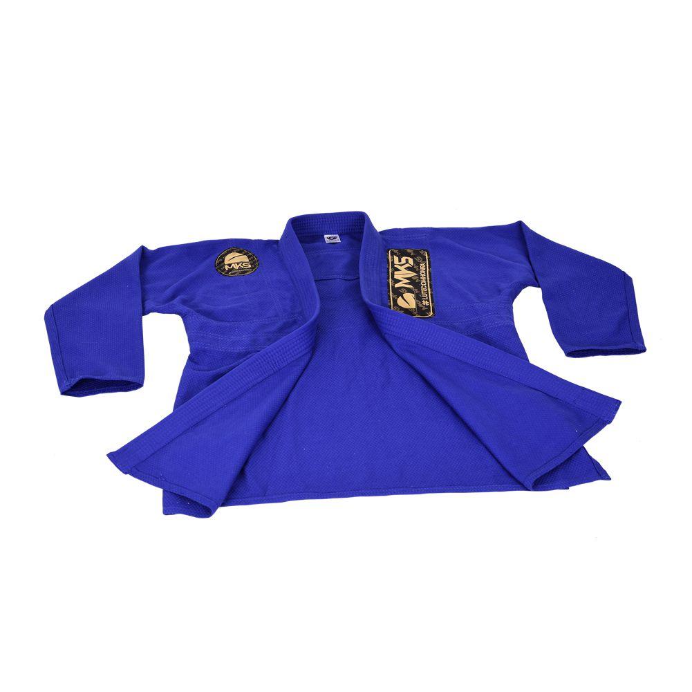 Kimono Jiu Jitsu Trançado MKS Gold Azul