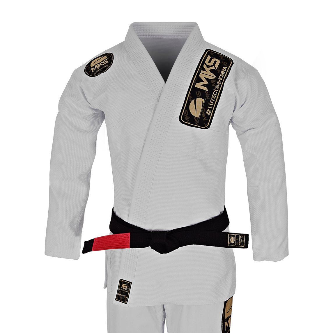 Kimono Jiu Jitsu Trançado MKS Gold Branco