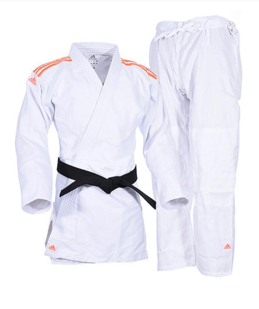 Kimono Judô adidas Club J350 Branco/Laranja Trançado 350g/m2