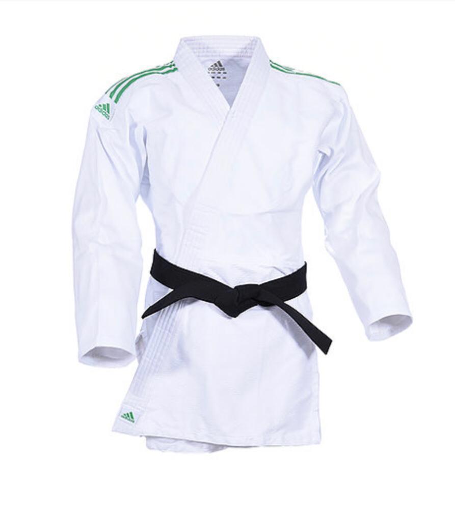 Kimono Judô adidas Club J350 Branco/Verde Trançado 350g/m2