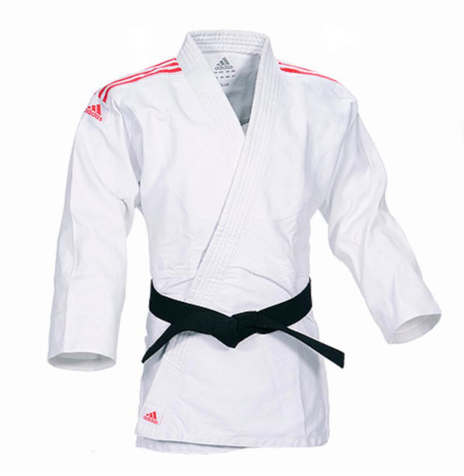 Kimono Judô adidas Club J350 Branco/Vermelho Trançado 350g/m2