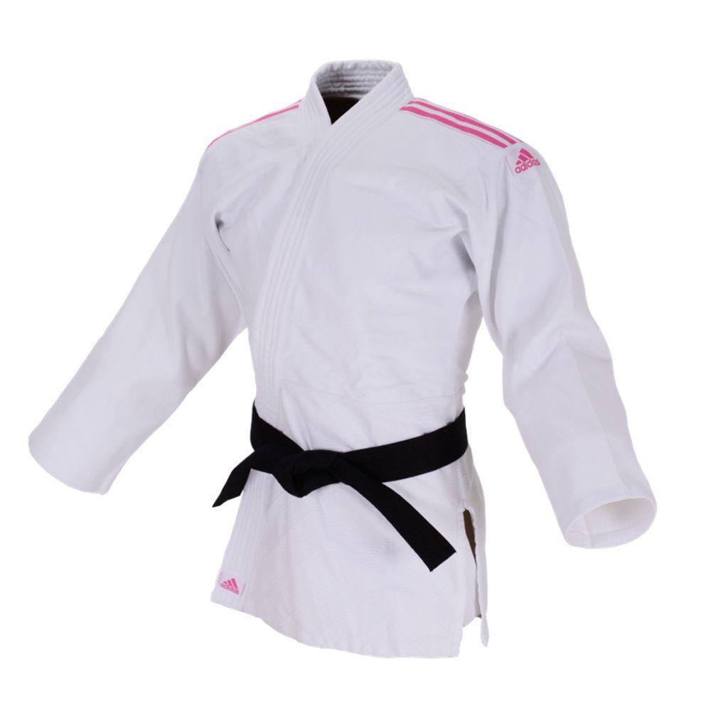 Kimono Judô adidas Club J350 Branco/Rosa Trançado 350g/m2