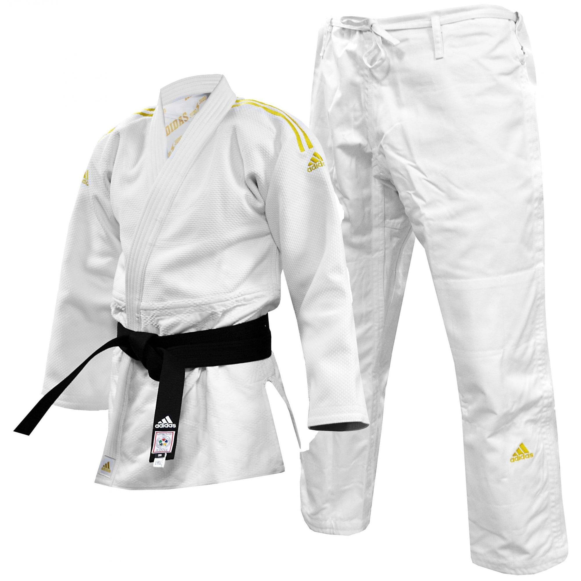 Kimono Judô adidas J990 Millenium Branco com listra Dourada