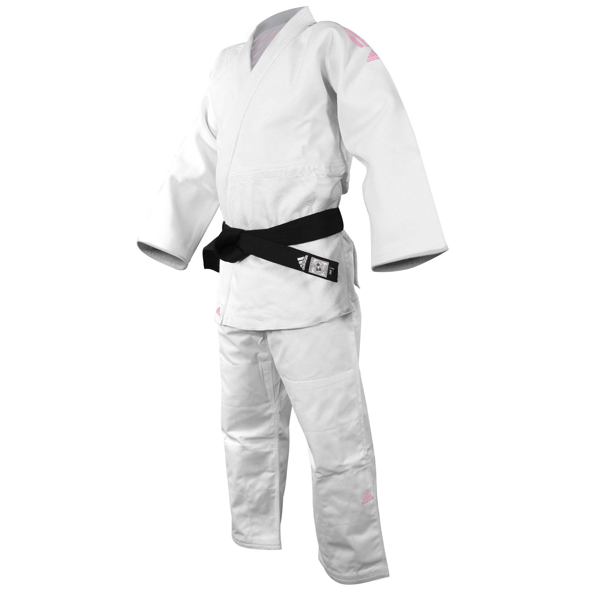 Kimono Judô adidas J990 Millenium Branco com listra Rosa