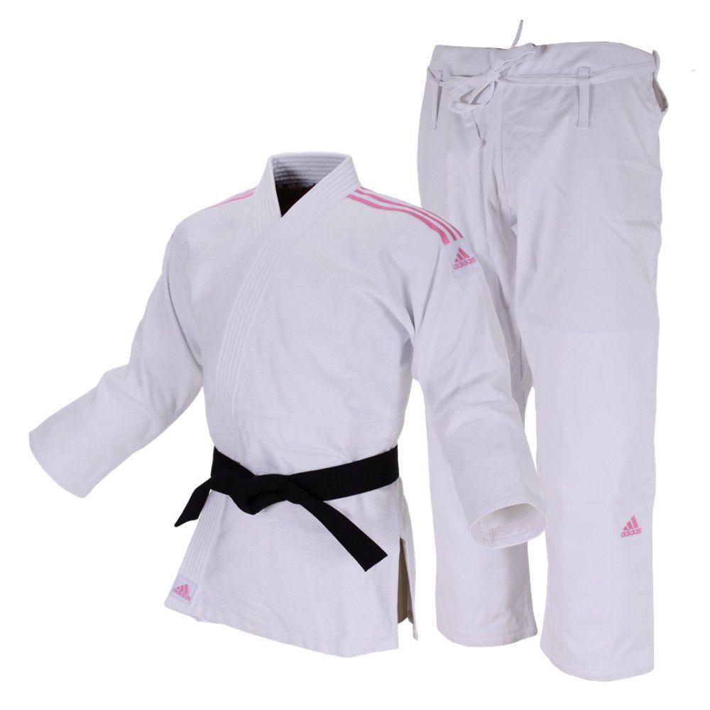 Kimono Judô adidas Quest J690 Branco/Rosa