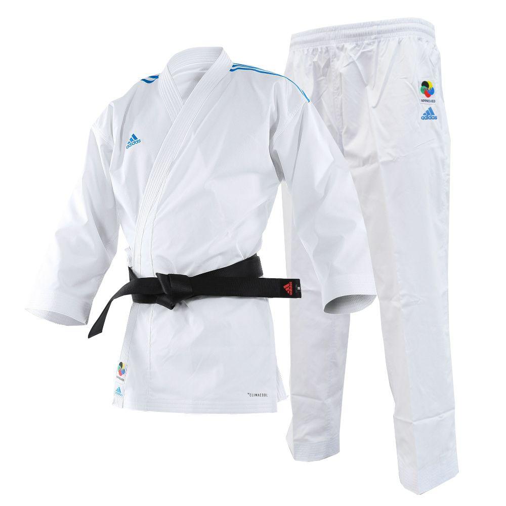 Kimono Karate adidas AdiLight com listras azuis
