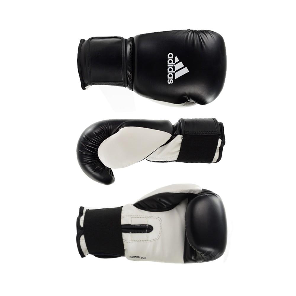 Kit Boxe Muay Thai Luva Power Colors Preto/Branco e Bandagem Preta 2,55m