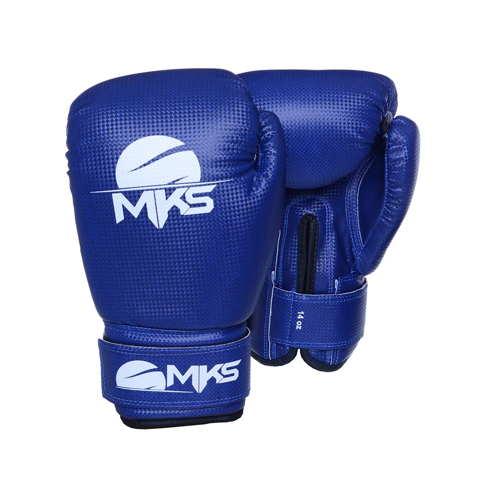 Kit Luva Boxe Prospect Mks Combat Azul com Bandagem Preta