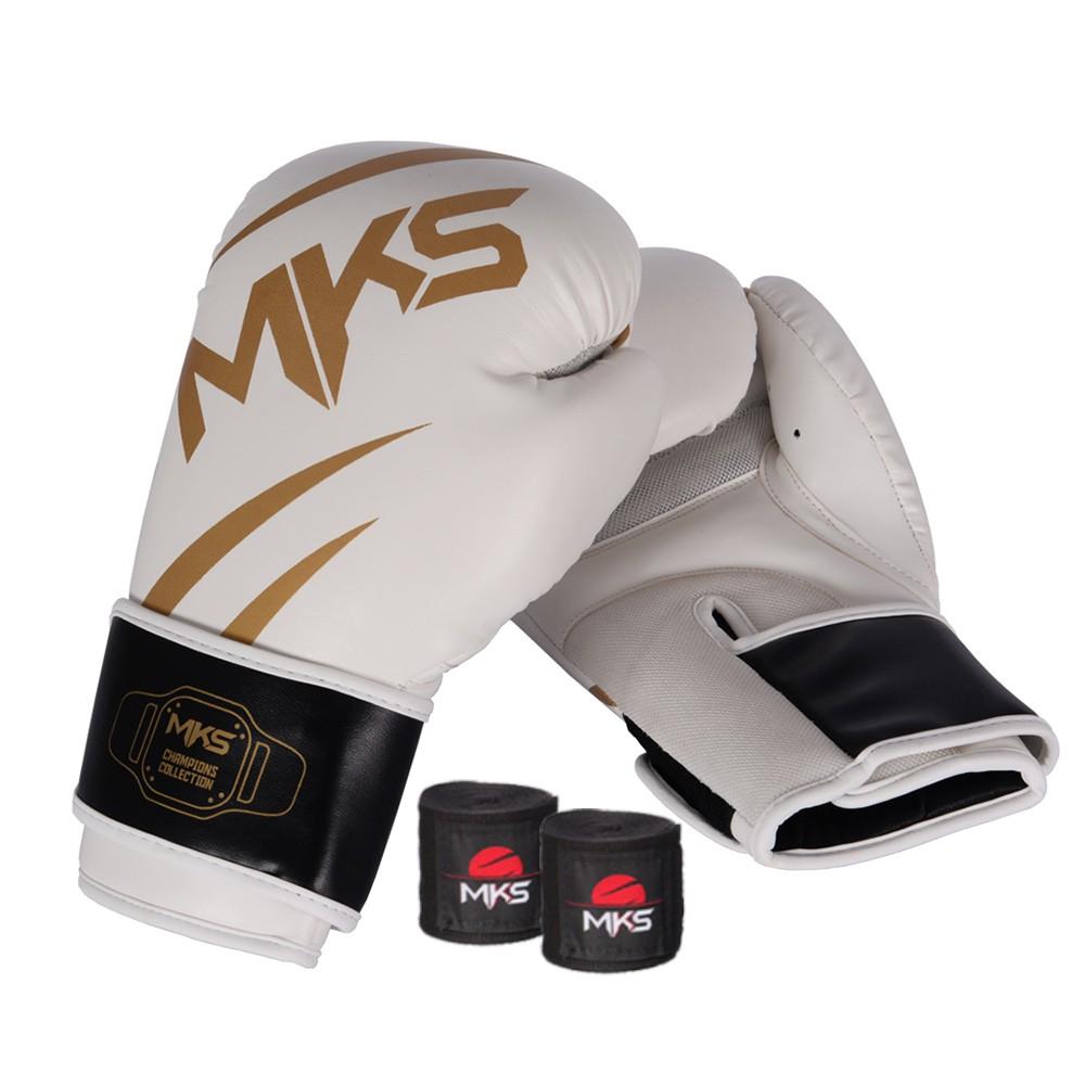 Kit Luva de Boxe MKS Champions V3 Branco/Dourada + Bandagem Preta 2,55m