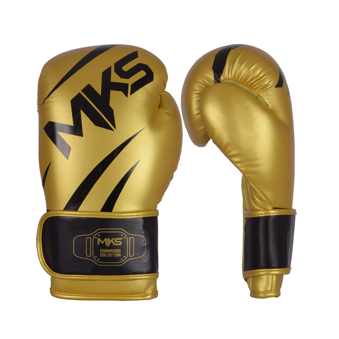 Kit Luva de Boxe MKS Champions V3 Dourado/Preto + Bandagem Preta 2,55m