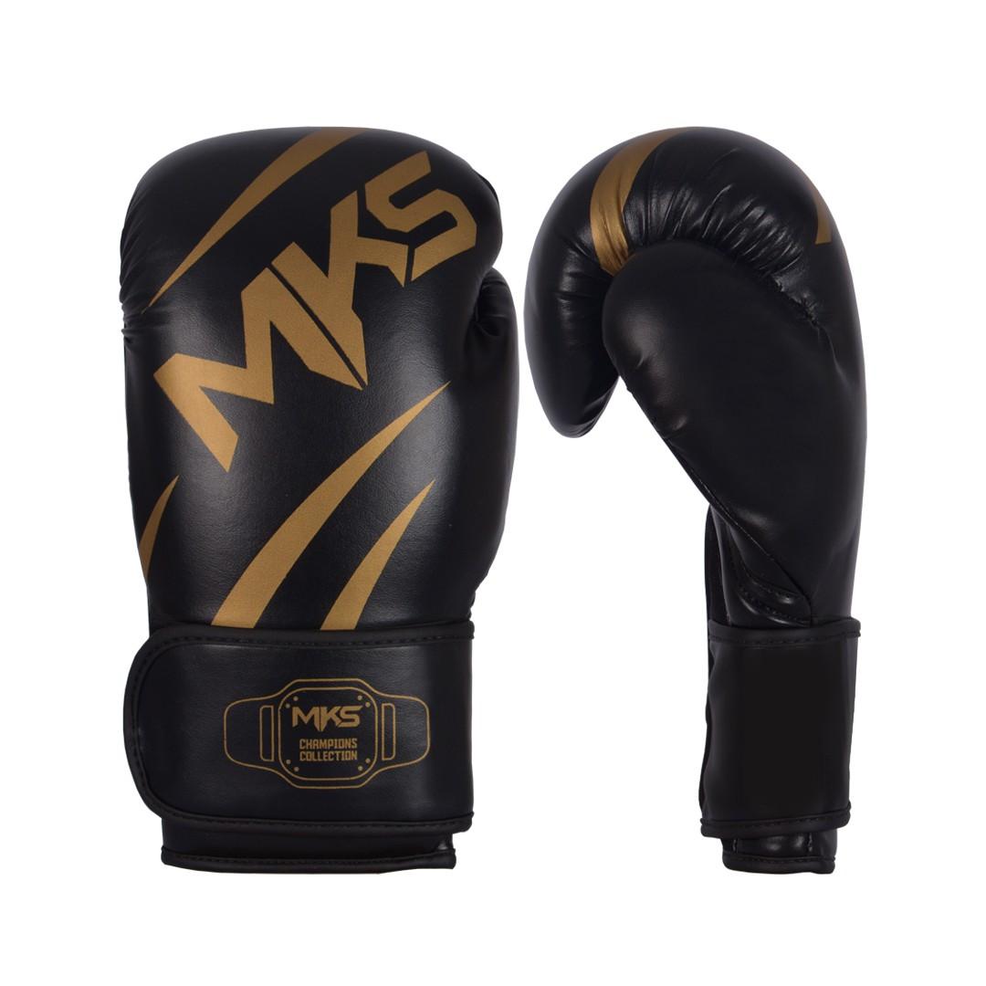 Kit Luva de Boxe MKS Champions V3 Preto/Dourada + Bandagem Preta 2,55m