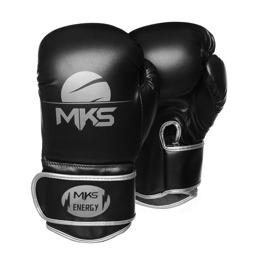 Kit Luva de Boxe MKS Energy V2 Black & Silver e Bandagem Preta 2,55m