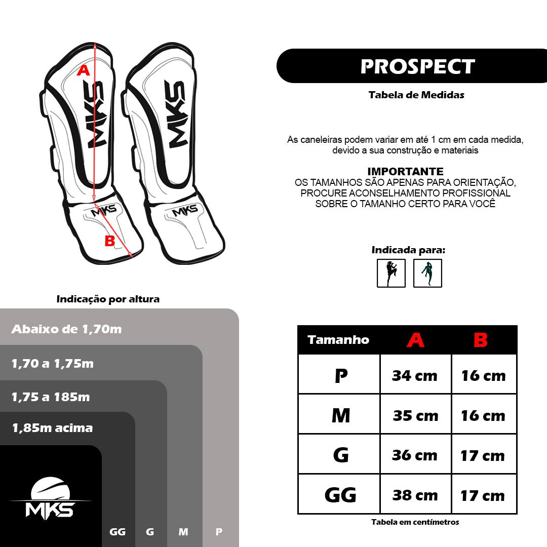 Kit Prospect Luva Boxe Azul e Caneleira Mks Combat com Bandagem Preta 2,55m