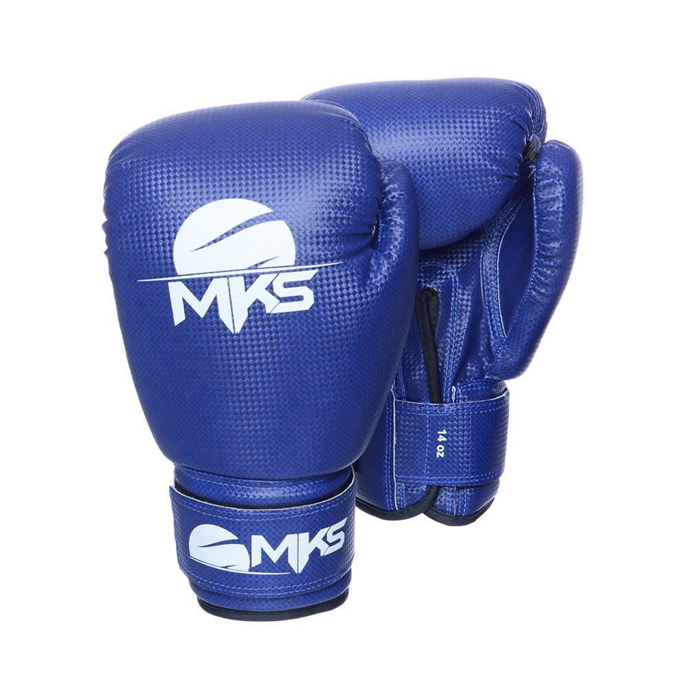 Kit Prospect Luva Boxe Azul e Caneleira Vermelha Mks Combat com Bandagem Preta 2,55m