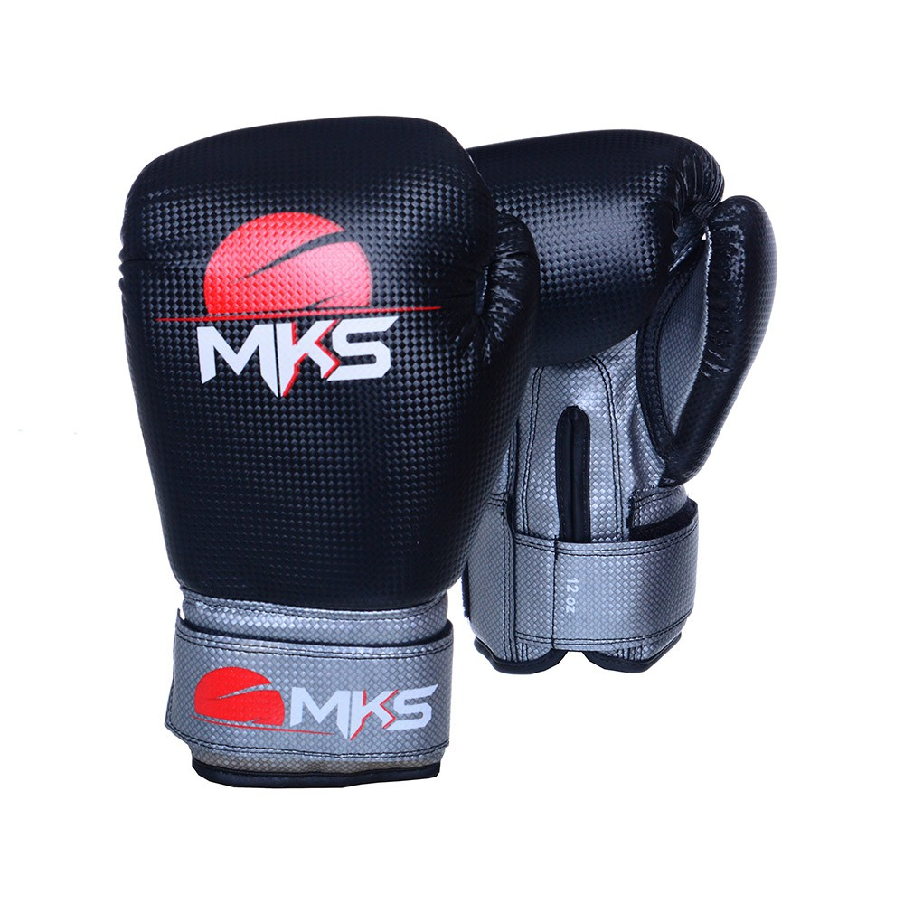 Kit Prospect Luva Boxe Preta/Prata e Caneleira Preta Mks Combat com Bandagem Preta 2,55m