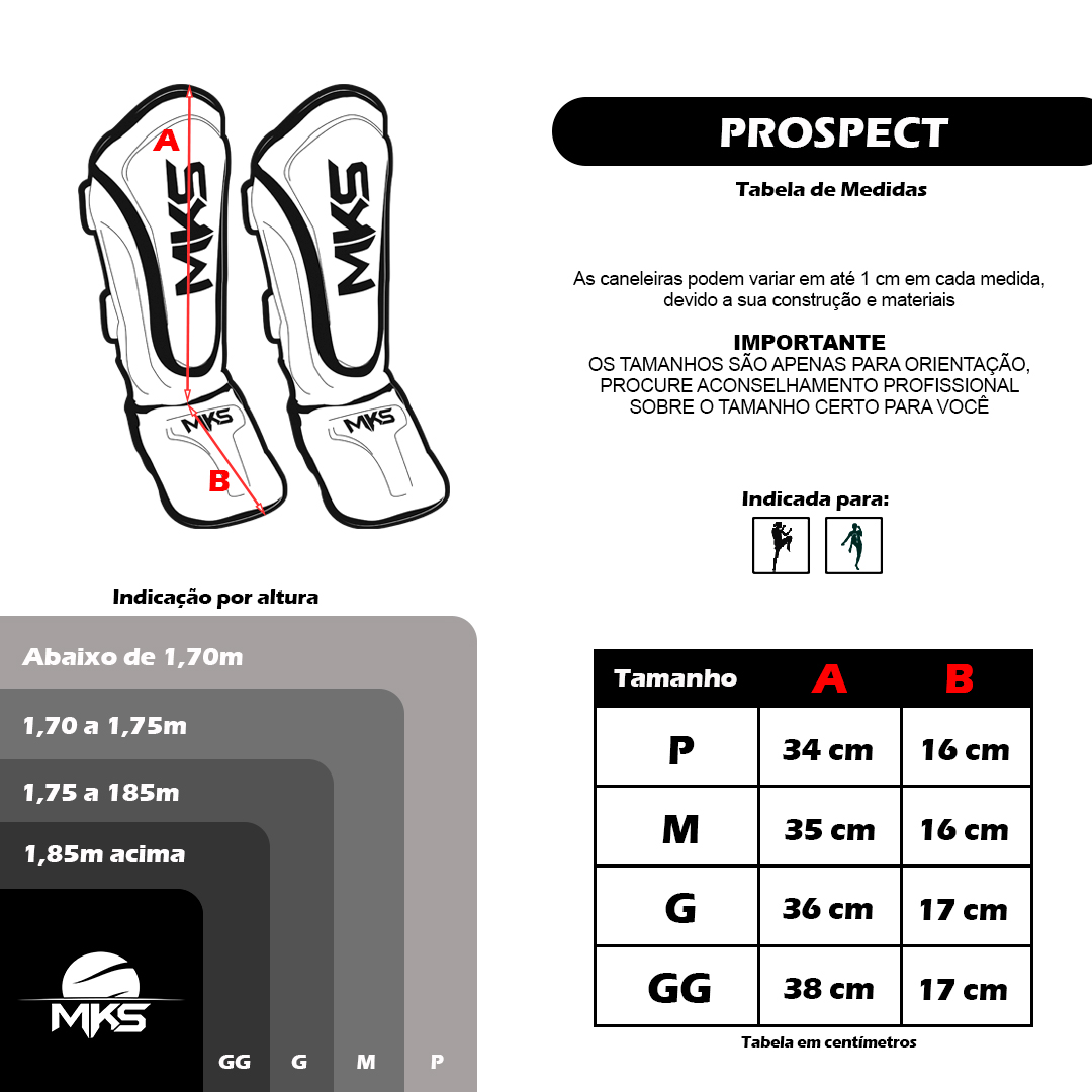 Kit Prospect Luva Boxe Vermelha e Caneleira Preta Mks Combat com Bandagem Preta 2,55m
