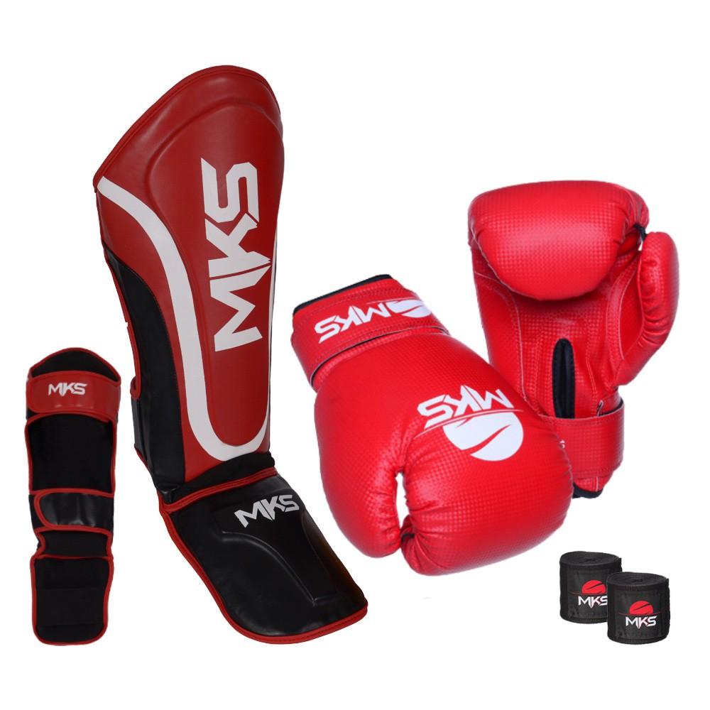 Kit Prospect Luva Boxe Vermelha e Caneleira Vermelha Mks Combat com Bandagem Preta 2,55m