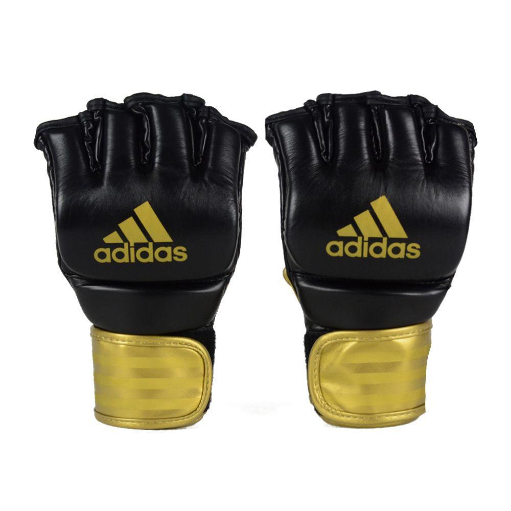 Luva de MMA adidas em couro legítimo Preta/Dourada