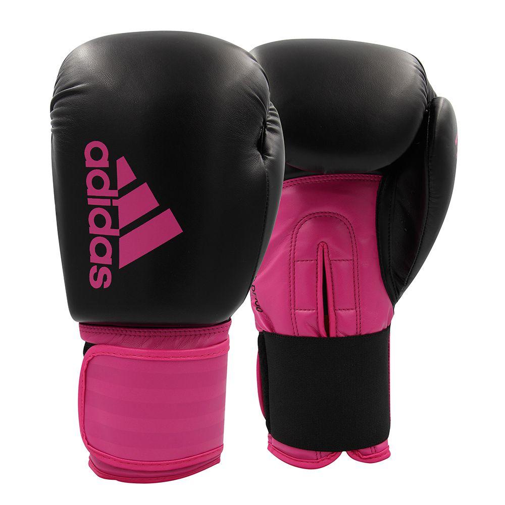 Luva de Boxe adidas Hybrid 100 Dynamic Fit - Preta/Rosa