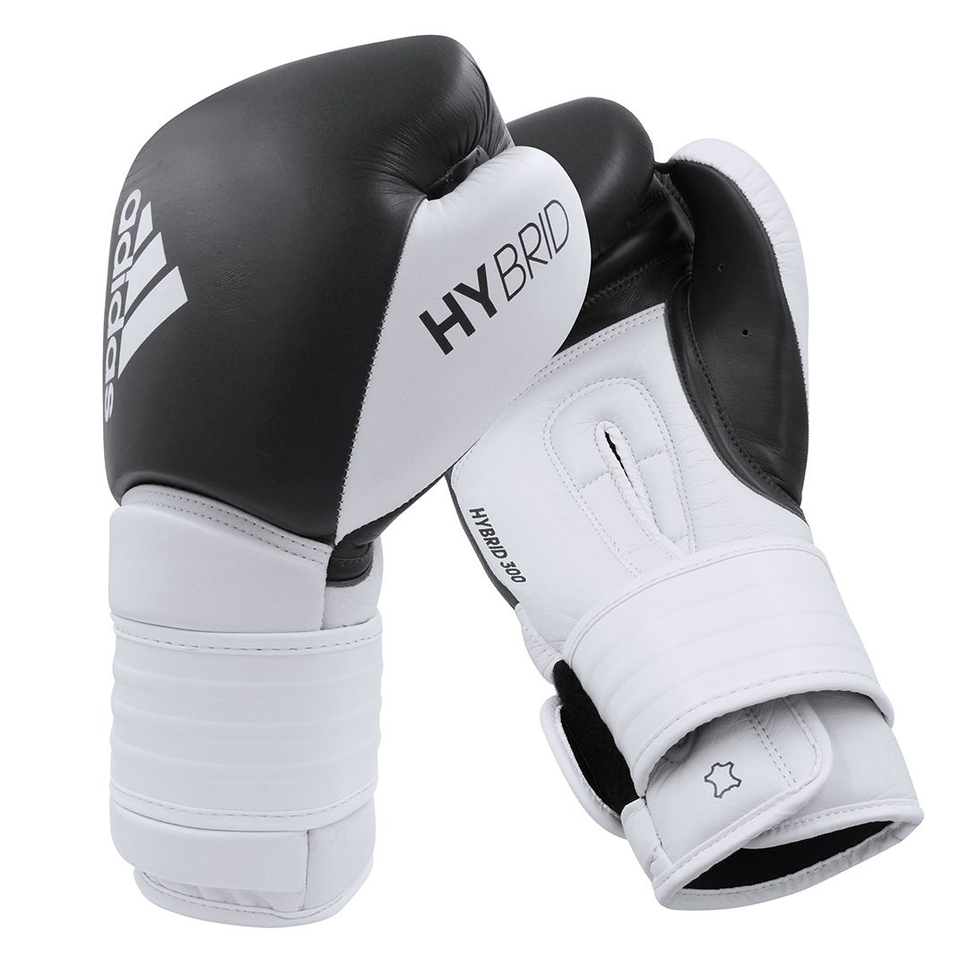 Luva de Boxe adidas Hybrid 300 Preta/Branca