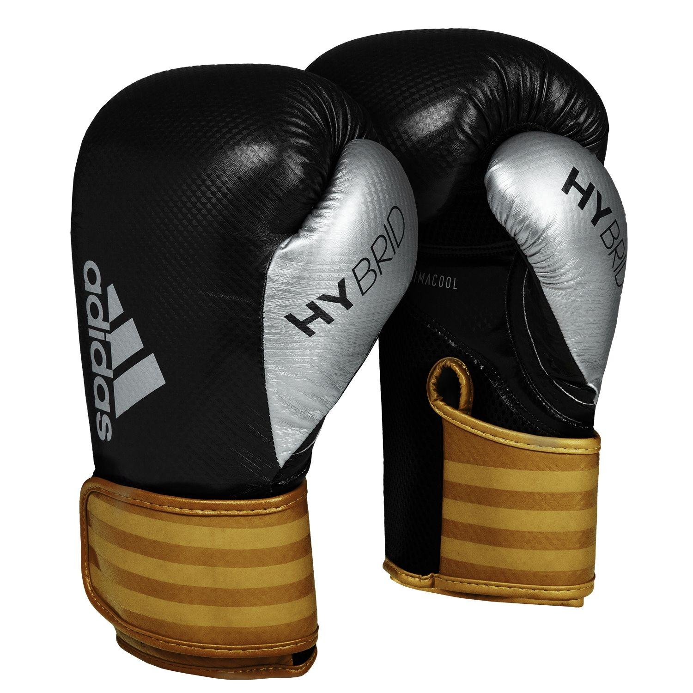 Luva de Boxe adidas Hybrid 65 Preta/Dourada - Dedão Prateado