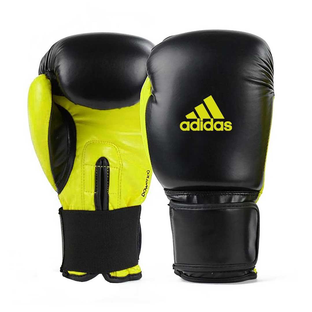 Luva de Boxe e Muay Thai adidas Power 100 Colors - Preta/Amarela Neon