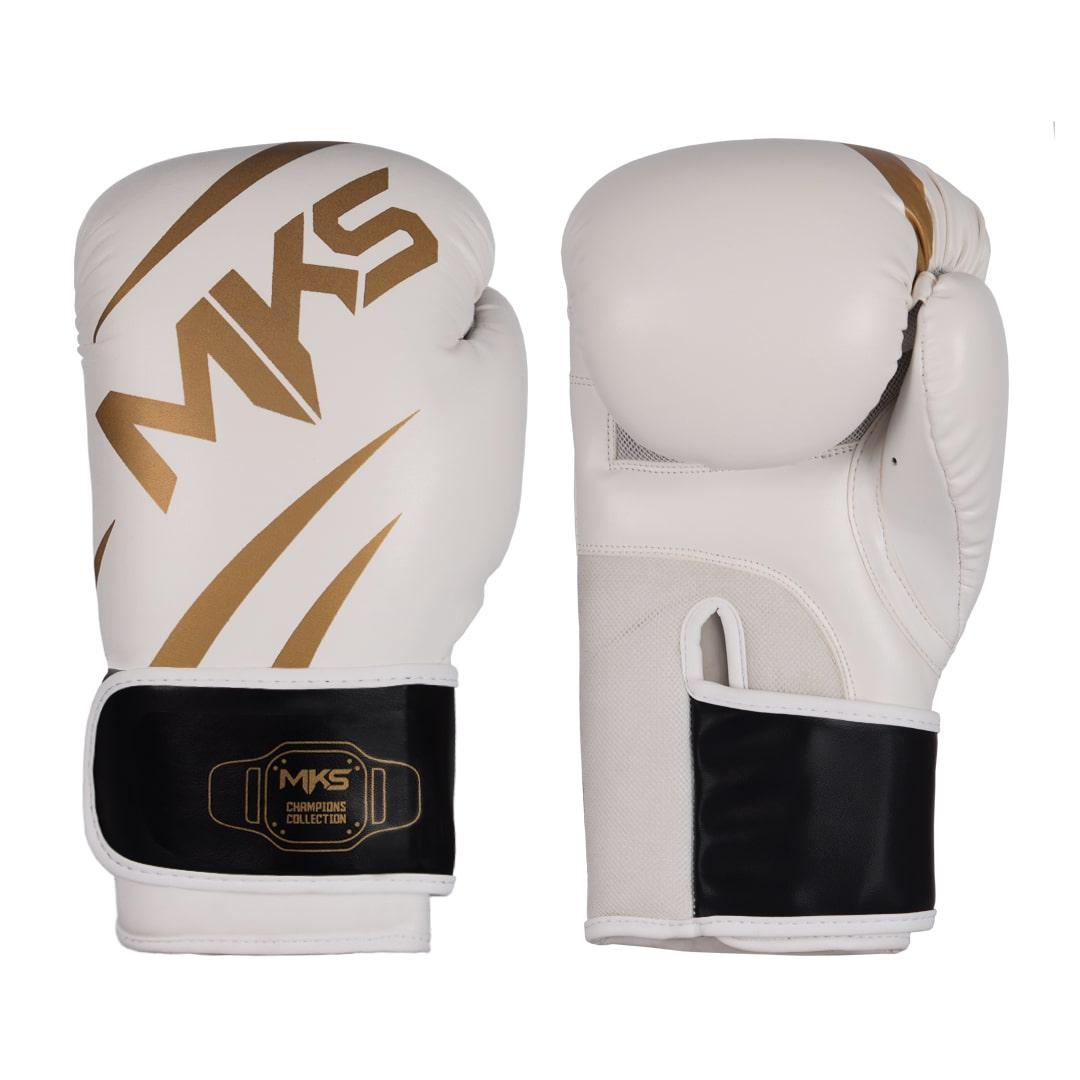 Luva de Boxe MKS Champions V3 Branco/Dourada