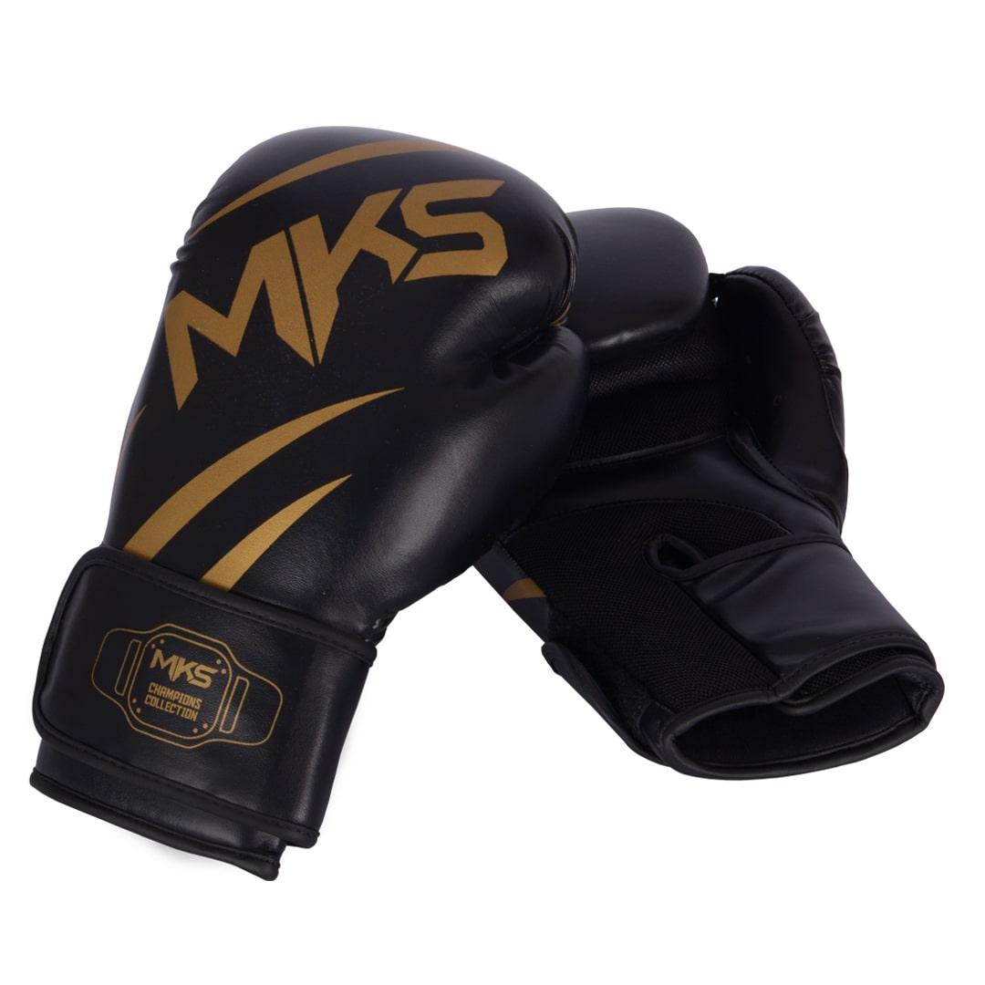 Luva de Boxe MKS Champions V3 Preto/Dourada