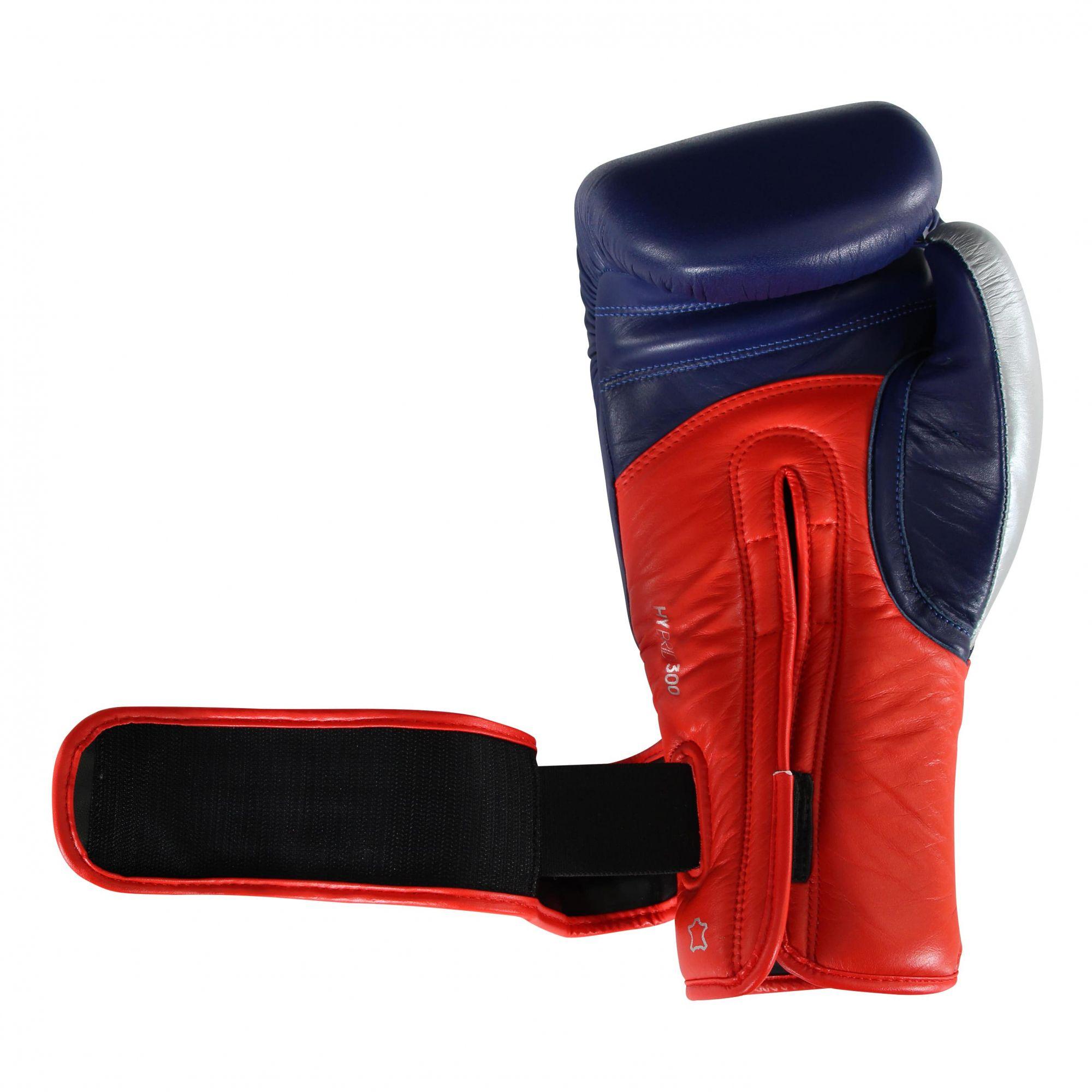 Luva de Boxe adidas Hybrid 300 Azul/Vermelha - Dedão Prateado