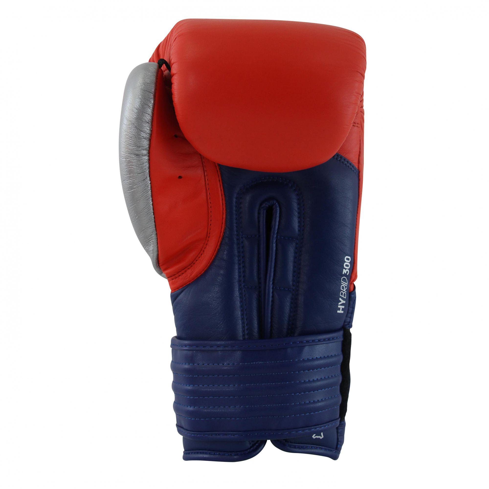 Luva de Boxe adidas Hybrid 300 Vermelha/Azul - Dedão Prateado