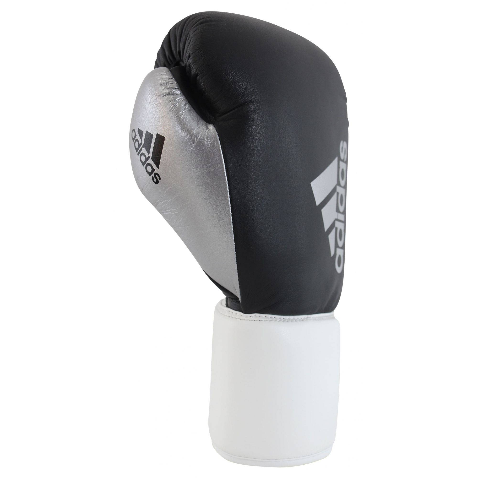 Luva de Boxe adidas Hybrid 400 Pro Lace Preta/Branca e Dedão Prateado