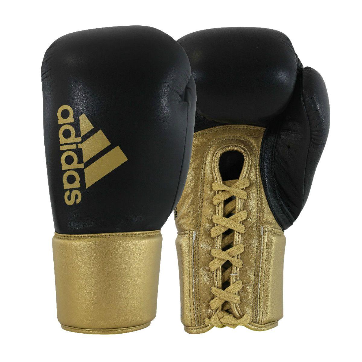 Luva de Boxe adidas Hybrid 400 Pro Lace Preta/Dourada e Dedão Prateado
