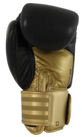 Luva de Boxe adidas Hybrid 200 Preta/Dourada - Dedão Prateado