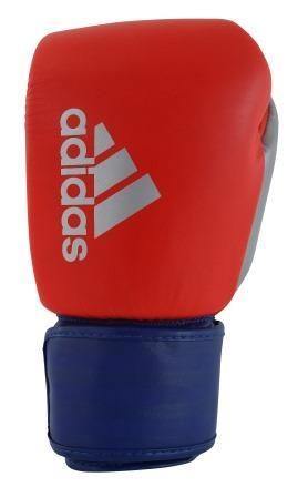 Luva de Boxe Muay Thai Adidas Hybrid 200 Black Red Blue & Silver