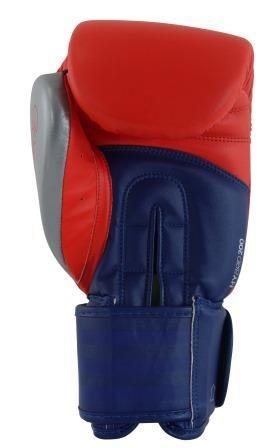Luva de Boxe adidas Hybrid 200 Vermelha/Azul/ e Dedão Prateado