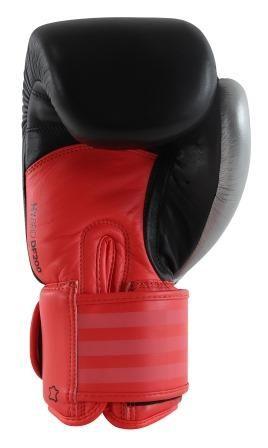 Luva de Boxe adidas Hybrid 200 Preta/Vermelha e Dedão Prateado