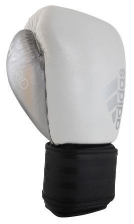 Luva de Boxe adidas Hybrid 200 Branca/Preta - Dedão Prateado