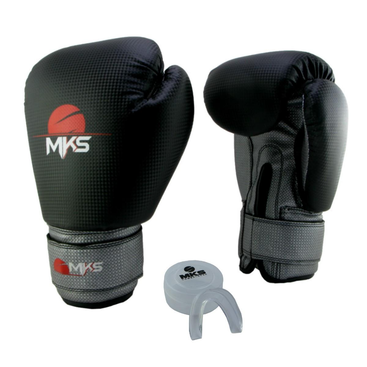 Luva de Boxe Prospect MKS Black & Silver 16 oz + Protetor Bucal