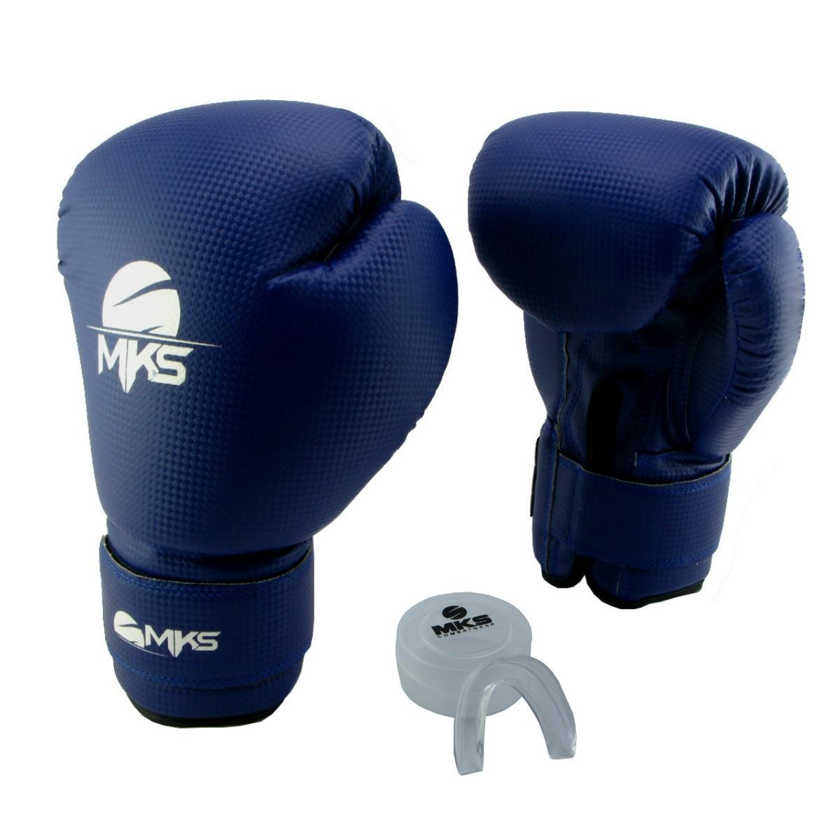 Luva de Boxe Prospect MKS Blue 14 oz + Protetor Bucal