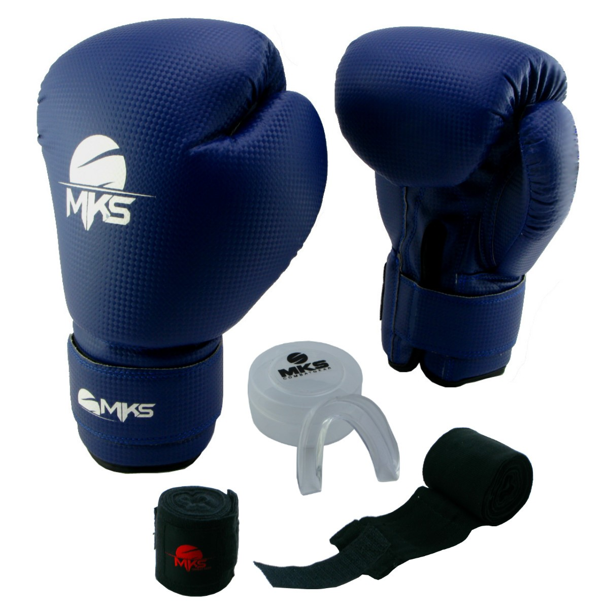 Luva de Boxe Prospect MKS Blue 16 oz + Protetor Bucal + Bandagem