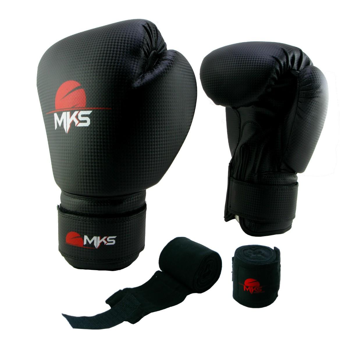 Luva de Boxe Prospect MKS Preta 12 oz + bandagem