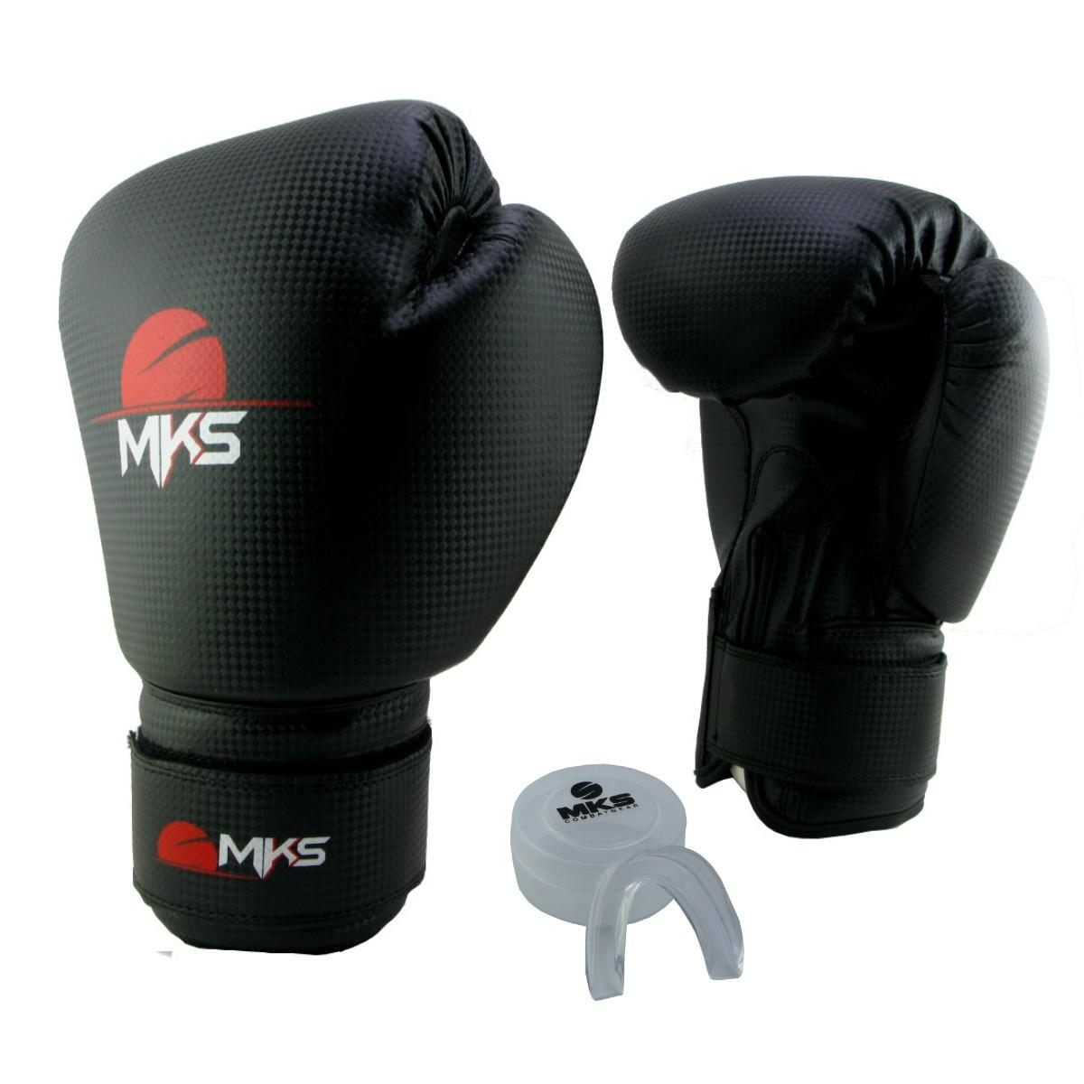 Luva de Boxe Prospect MKS Preta 12 oz + Protetor Bucal
