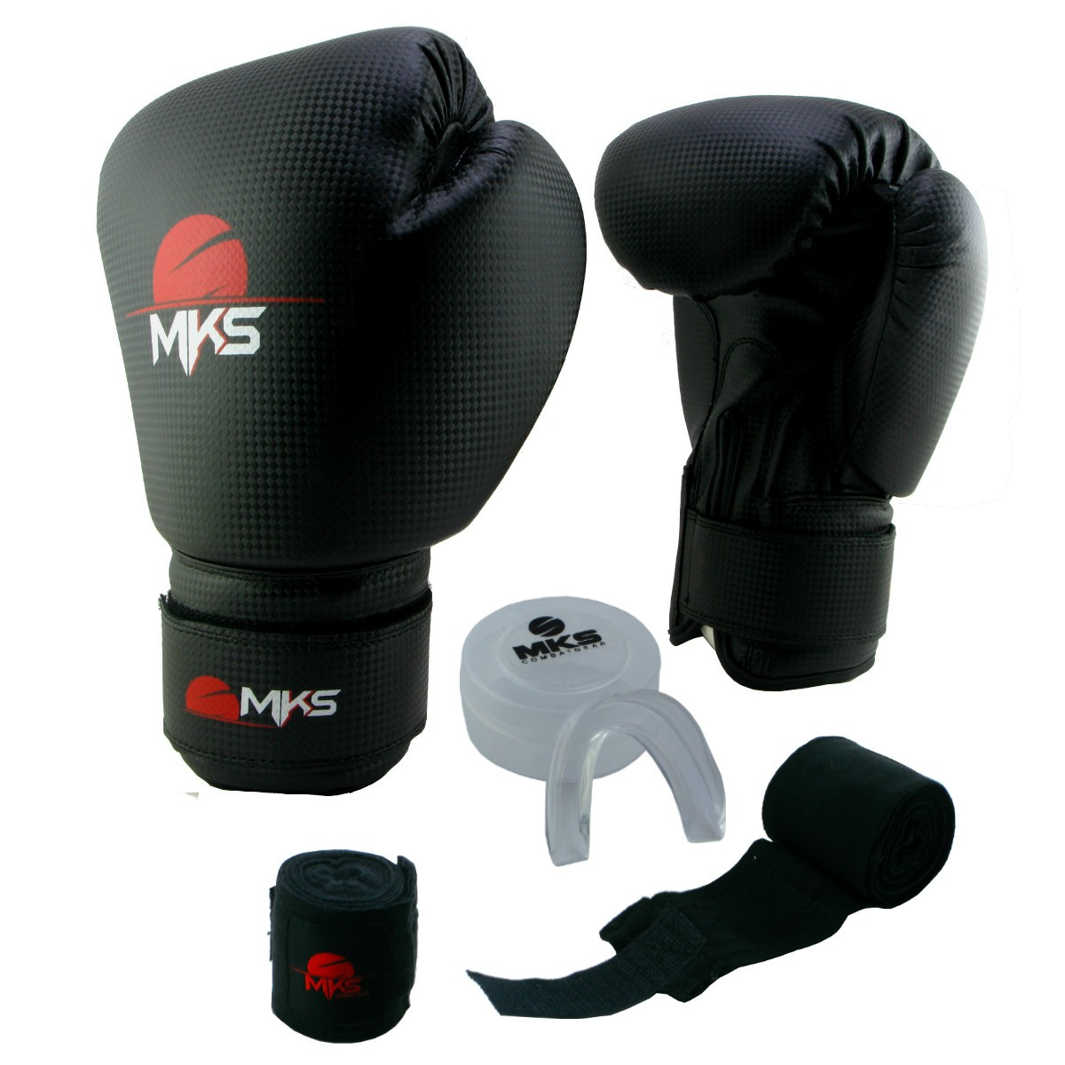 Luva de Boxe Prospect MKS Preta 12 oz + Protetor Bucal + Bandagem