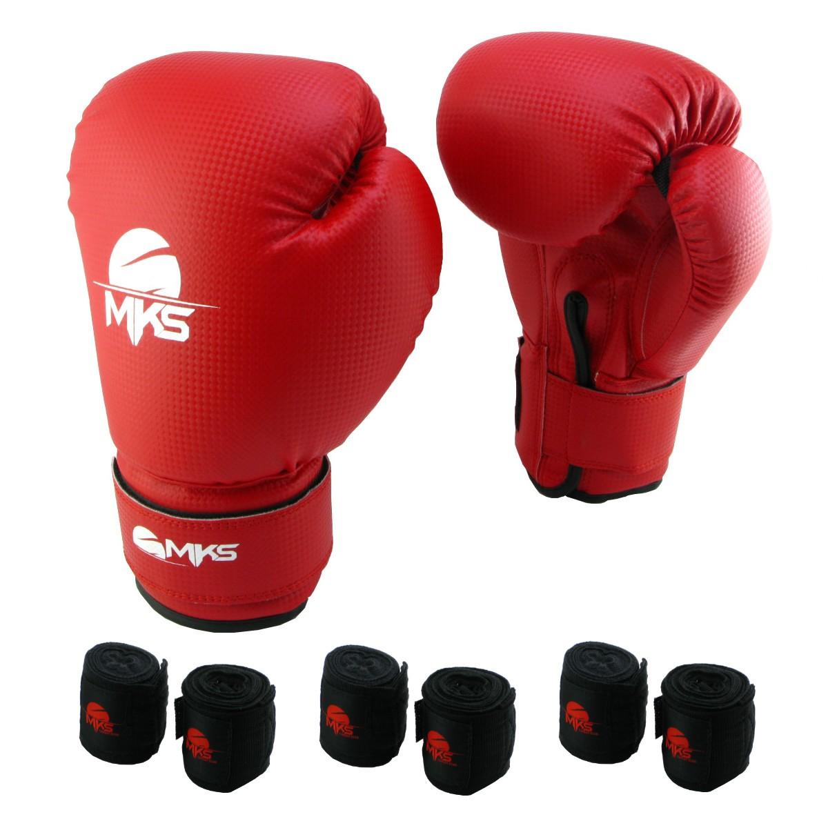 Luva de Boxe Prospect MKS Vermelha 12 oz +  03 bandagem