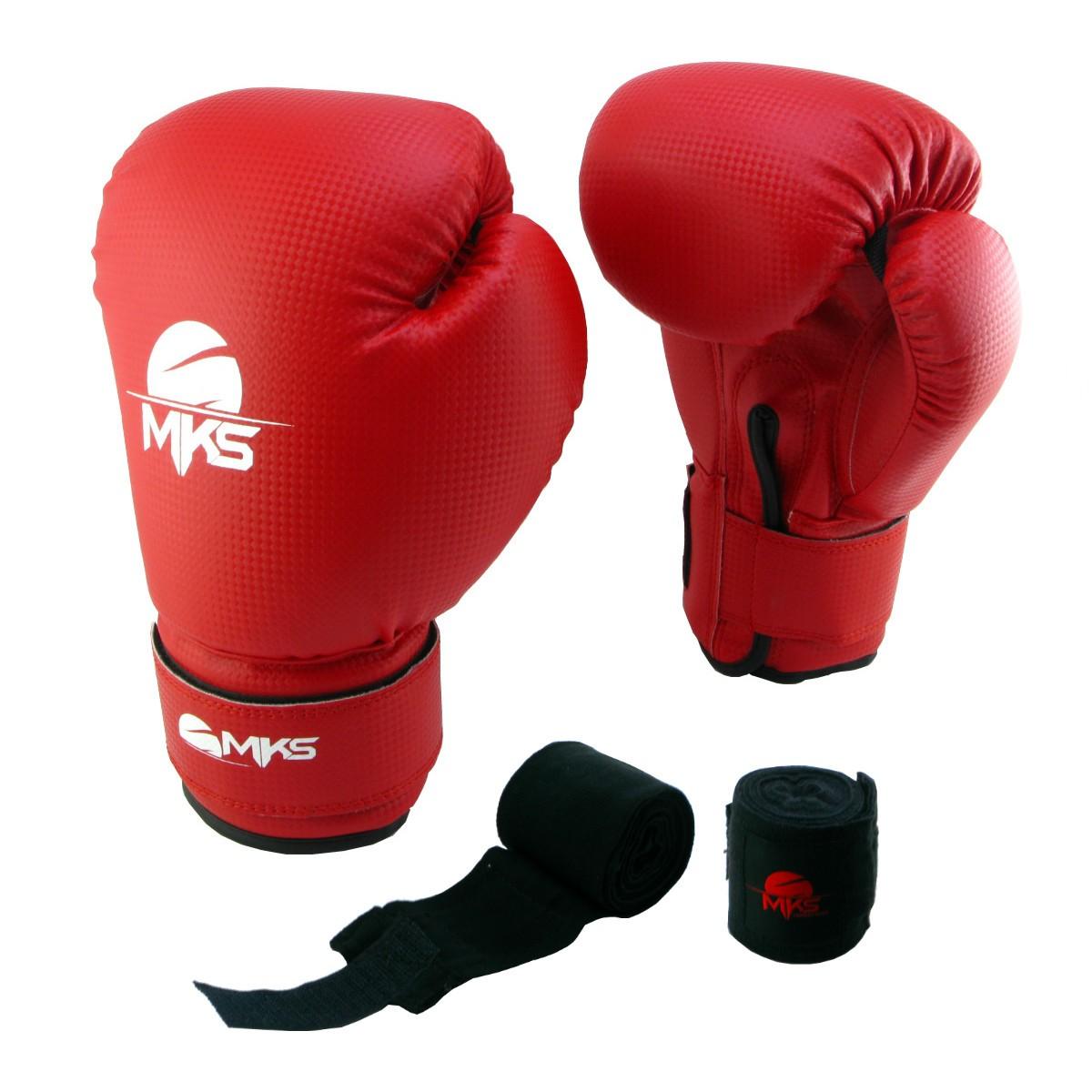 Luva de Boxe Prospect MKS Vermelha 12 oz + bandagem