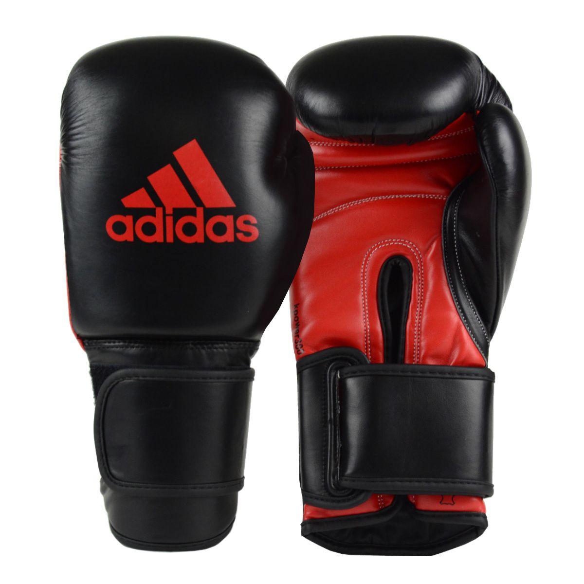 Luva de Kickboxing adidas KPower 300 - Preta/Vermelha