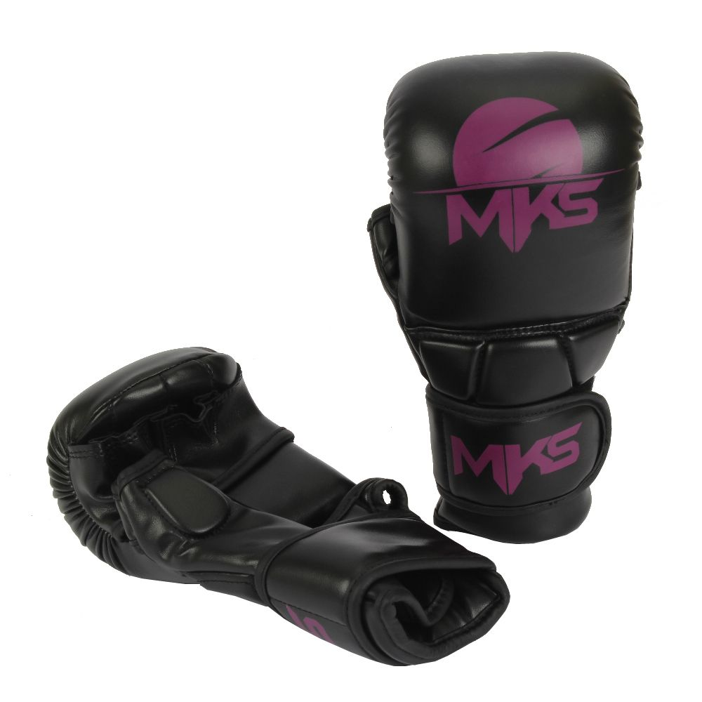 LUVA MMA SPARRING MKS Combat Preto/Roxo