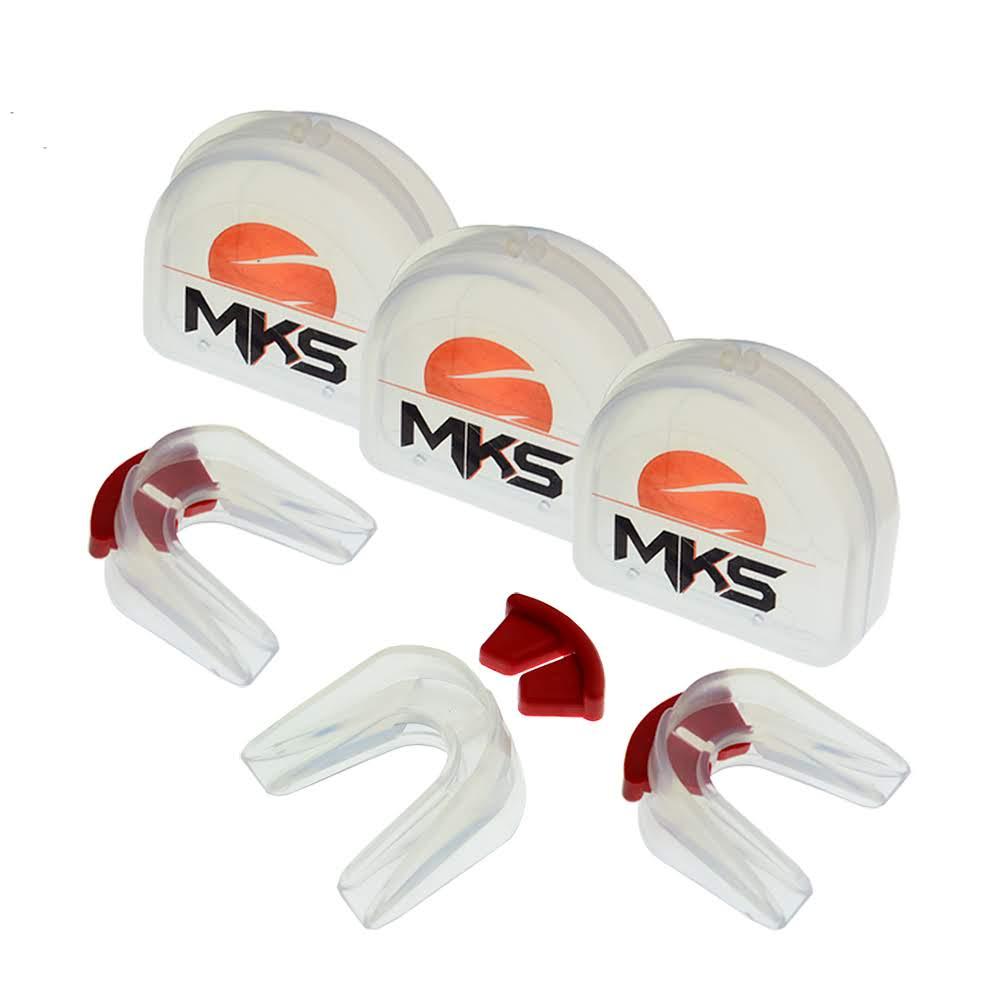 Protetor Bucal Duplo de Silicone Cristal MKS - Pack com 3 + Estojos